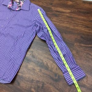 Viscanti Shirts - VISCONTI Men Purple Stripe Button Down Dress Shirt